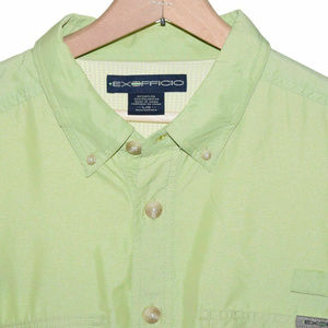 EXOFFICIO Large Green Long Sleeve Button Front